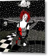 Scarlet Checkers Metal Print
