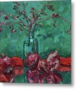 Scarlet Pomegranates Metal Print