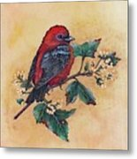 Scarlet Tanager - Acrylic Painting Metal Print