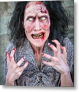 Scary Angry Zombie Woman Metal Print
