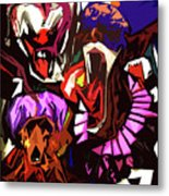 Scary Clowns Abstract Metal Print