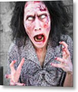 Scary Screaming Zombie Woman Metal Print