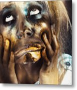 Scary Zombie Pulling Funny Face  Metal Print
