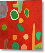 Scattered Things Over Red  Metal Print