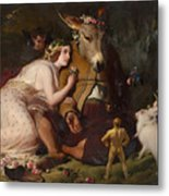 Scene From A Midsummer Night's Dream - Titania And Bottom Metal Print