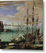 Scene Of A Sea Port Metal Print