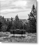 Scenic Bench In Black And White Metal Print