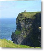 Scenic Lush Green Grass And Sea Cliffs Of Ireland Metal Print