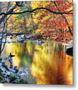 Scenic New Jersey Fall Fly Fishing  Metal Print