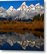 Scenic Teton Fall Reflections Metal Print