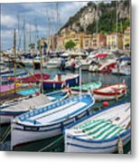 Scenic View Of Castle Hill And Marina In Nice, France Metal Print