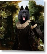 Schipperke Art Canvas Print - Forest Landscape With A Hunter And Noble Lady Metal Print