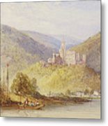 Schloss Stolzenfels From The Banks Of The Lahn Metal Print