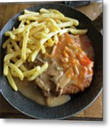 Schnitzel With Two Sauces Metal Print