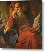 Scholar In His Study Metal Print