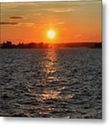 Schoodic Sunset With Island Lighthouse Metal Print