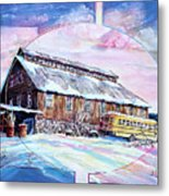 School Bus And Barn Metal Print