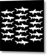 School Of Sharks Black And White Metal Print