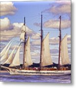 Schooner Mystic Under Sail Metal Print