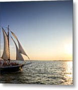 Schooner Welcome Sunset Charleston Sc Metal Print