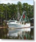 Schrimp Boat On Icw Metal Print