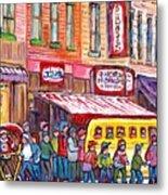 Schwartz's Smoked Meat Deli On The Main Montreal Hockey Art Scenes School Bus Painting C Spandau Art Metal Print