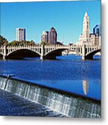 Scioto River With Waterfall Metal Print