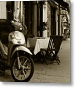 Scooter Cafe Metal Print
