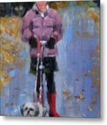 Scooting Down The Street Metal Print