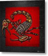 Scorpion On Red And Black  Metal Print