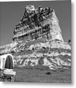 Scots Bluff Black And White Metal Print