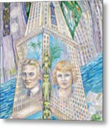 Scott And Zelda In Their New York Dream Tower Metal Print