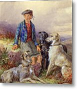 Scottish Boy With Wolfhounds In A Highland Landscape Metal Print by James Jnr Hardy