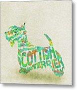 Scottish Terrier Dog Watercolor Painting / Typographic Art Metal Print