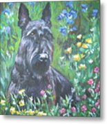 Scottish Terrier In The Garden Metal Print