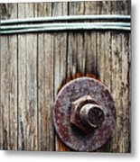Screw Attached To A Wooden Beam Metal Print