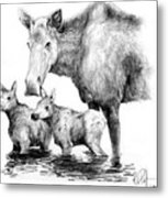 Scruffy Moose Family Metal Print