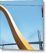 Sculpture By San Francisco Bay Bridge Metal Print