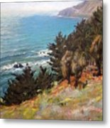 Sea And Pines Near Ragged Point, California Metal Print