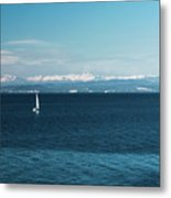 Sea And Snowy Alps Metal Print