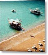 Sea Boats In The Laguna Metal Print