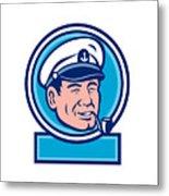 Sea Captain Smoking Pipe Circle Retro Metal Print