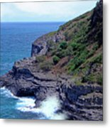 Sea Cave And Nesting Boobies Metal Print
