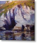 Sea Cliffs In Afternoon Light Metal Print