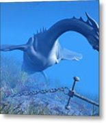 Sea Dragon And Anchor Metal Print