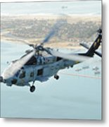 Sea Hawk Helicopter Flies Over  San Diego Metal Print