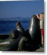 Sea Lion Sculpture  Metal Print