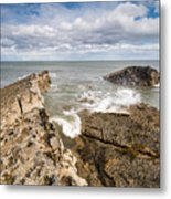 Sea Meets Rocks At Howick Metal Print