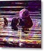 Sea Otter Swimming Floating Water  Metal Print