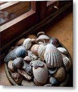 Sea Shells And Stones On Windowsill Metal Print